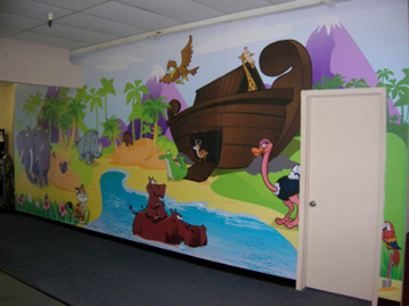 3d characters houston tx props themed environments for Church wall mural
